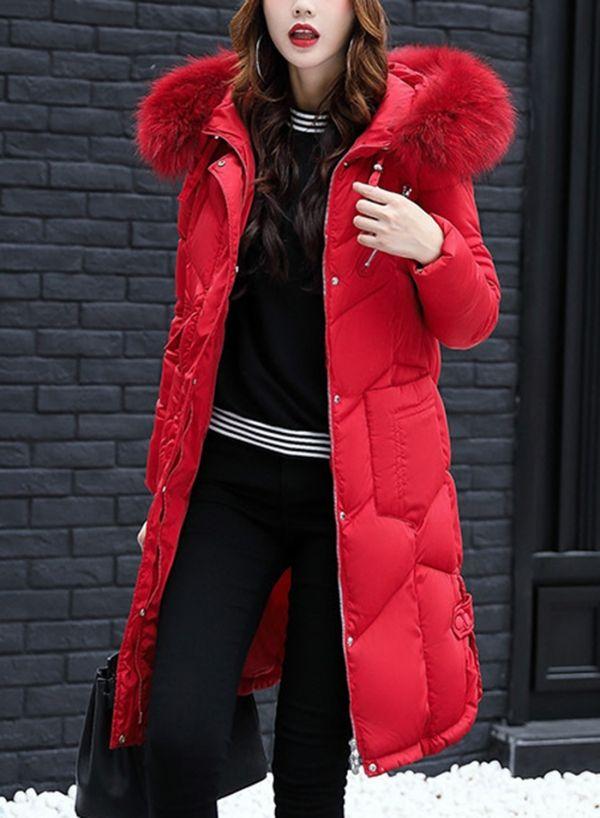 ed0e0aaba2270 Women s Fashion Longline Coat with Faux Fur Trim Hood - ROAWE.COM ...
