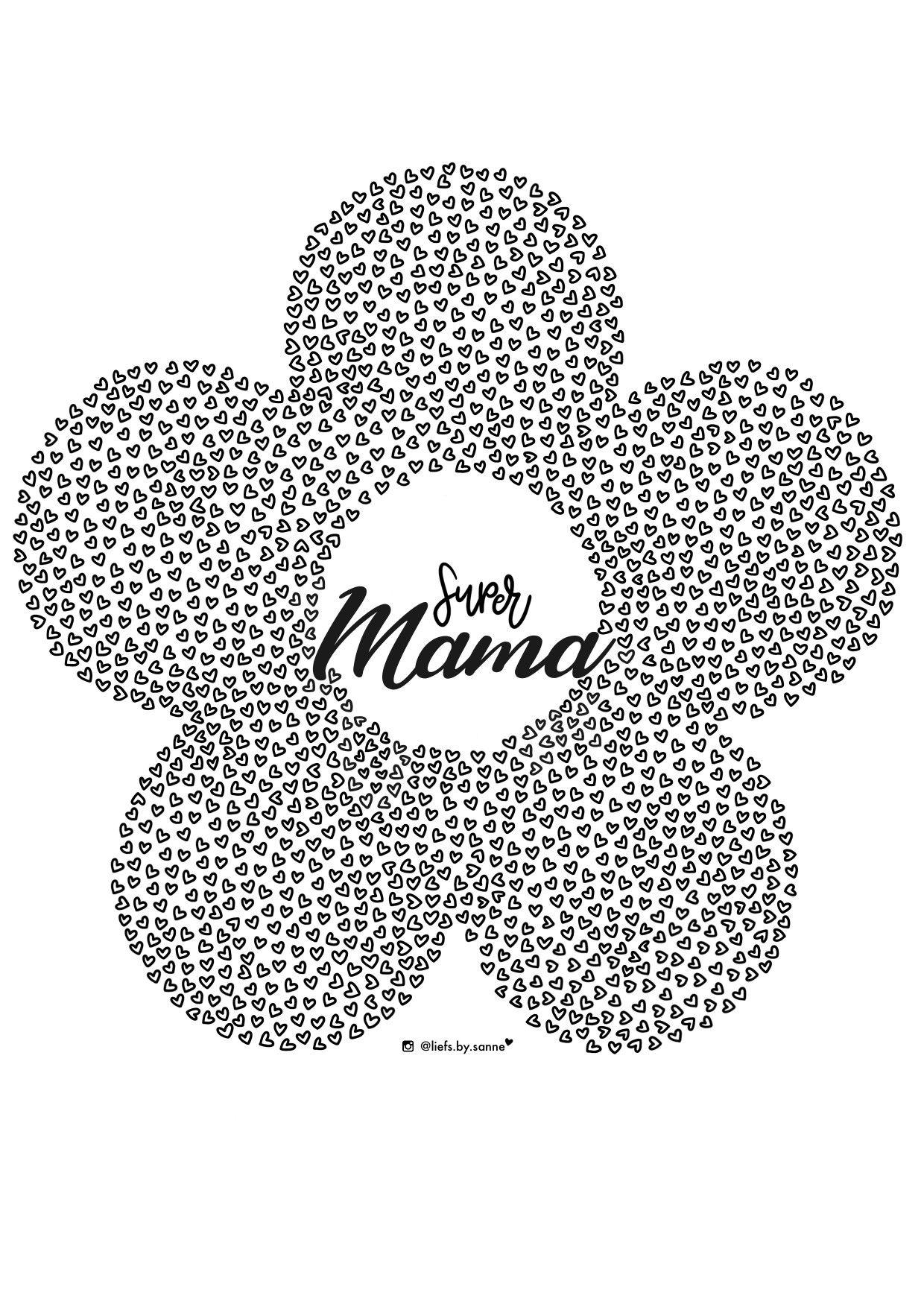 Super Mama Moederdag Kleurplaat Moederdag Knutselen Kleurplaten Moederdag