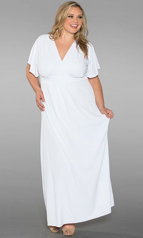 All White Plus Size Maxi Dresses