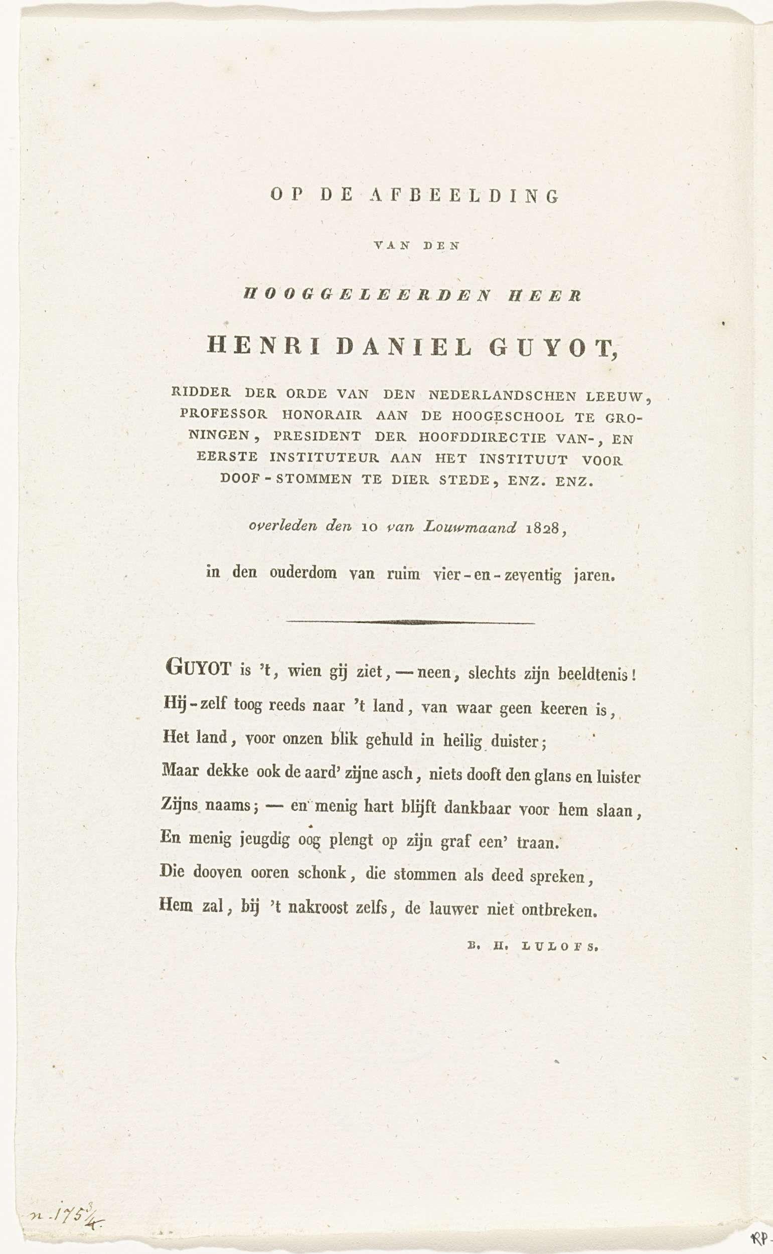 Barthold Hendrik Lulofs | Op de afbeelding van den hooggeleerden heer Henri Daniel Guyot, Barthold Hendrik Lulofs, 1828 - 1830 |