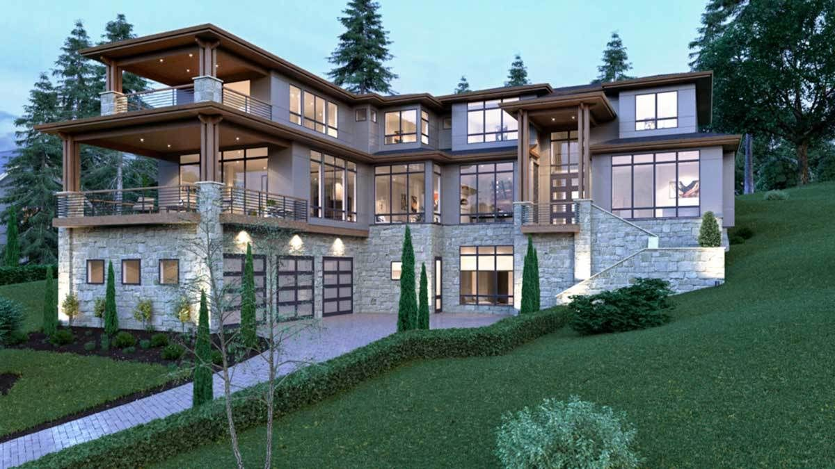 Plan 666035raf Stunning Contemporary House Plan In 2021 Modern Style House Plans Contemporary House Plans Contemporary House