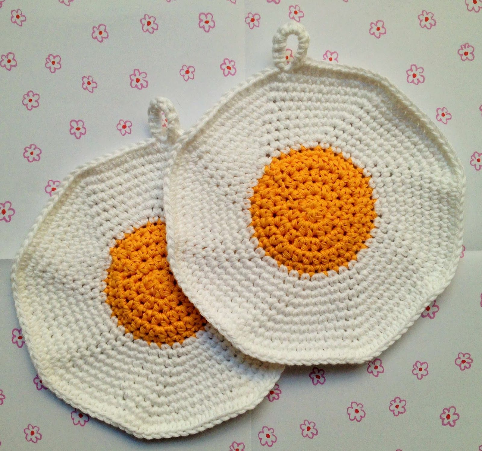 Fried Eggs Crochet Potholders