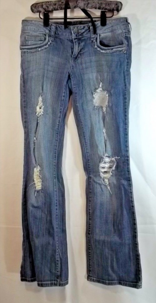 9.89$  Buy now - http://vipxx.justgood.pw/vig/item.php?t=e3orzr7527 - Decree Jeans Juniors 5 Distressed Boot Cut Stretch Denim
