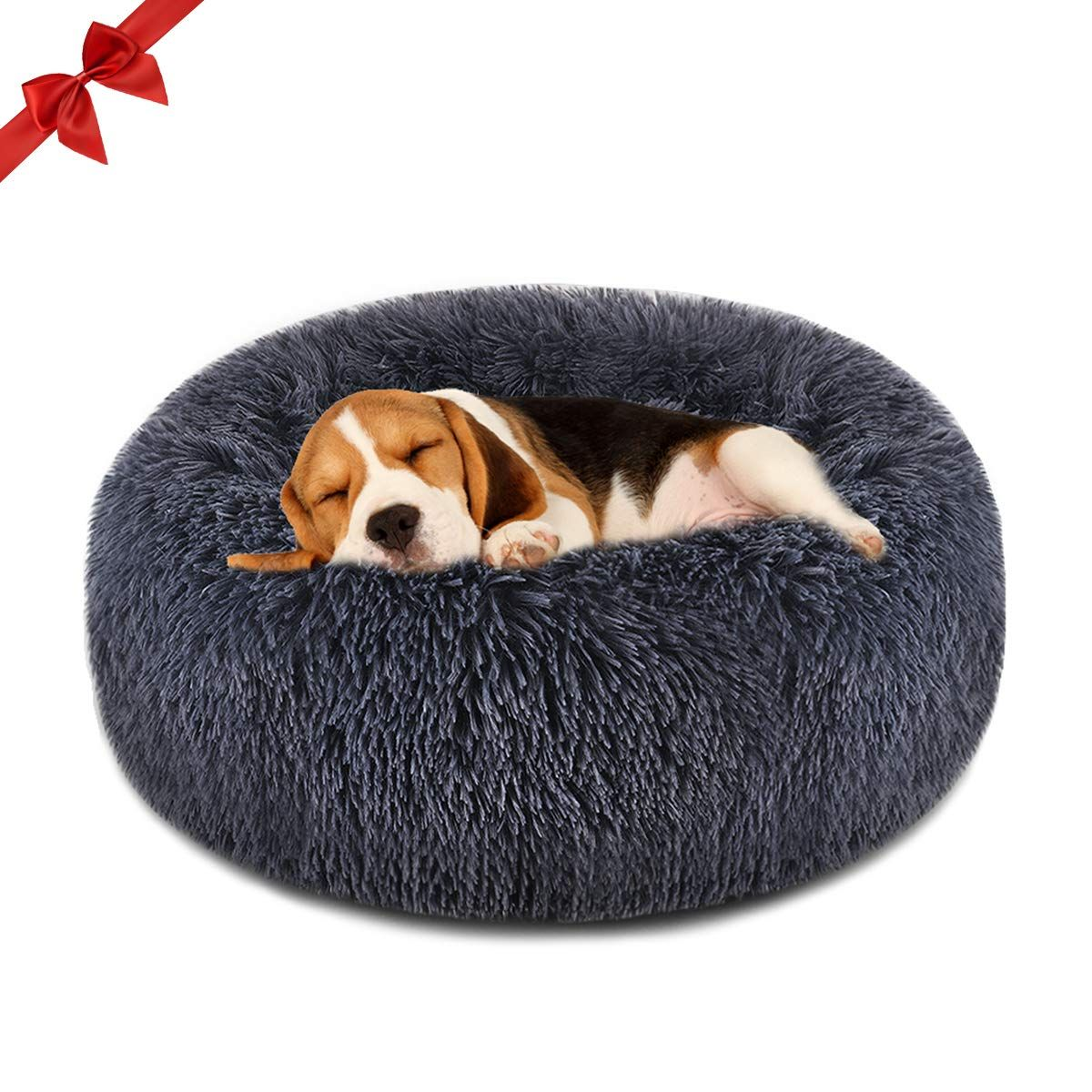 FOCUSPET Dog Bed Cat Bed Donut,Pet Bed Faux Fur Cuddler