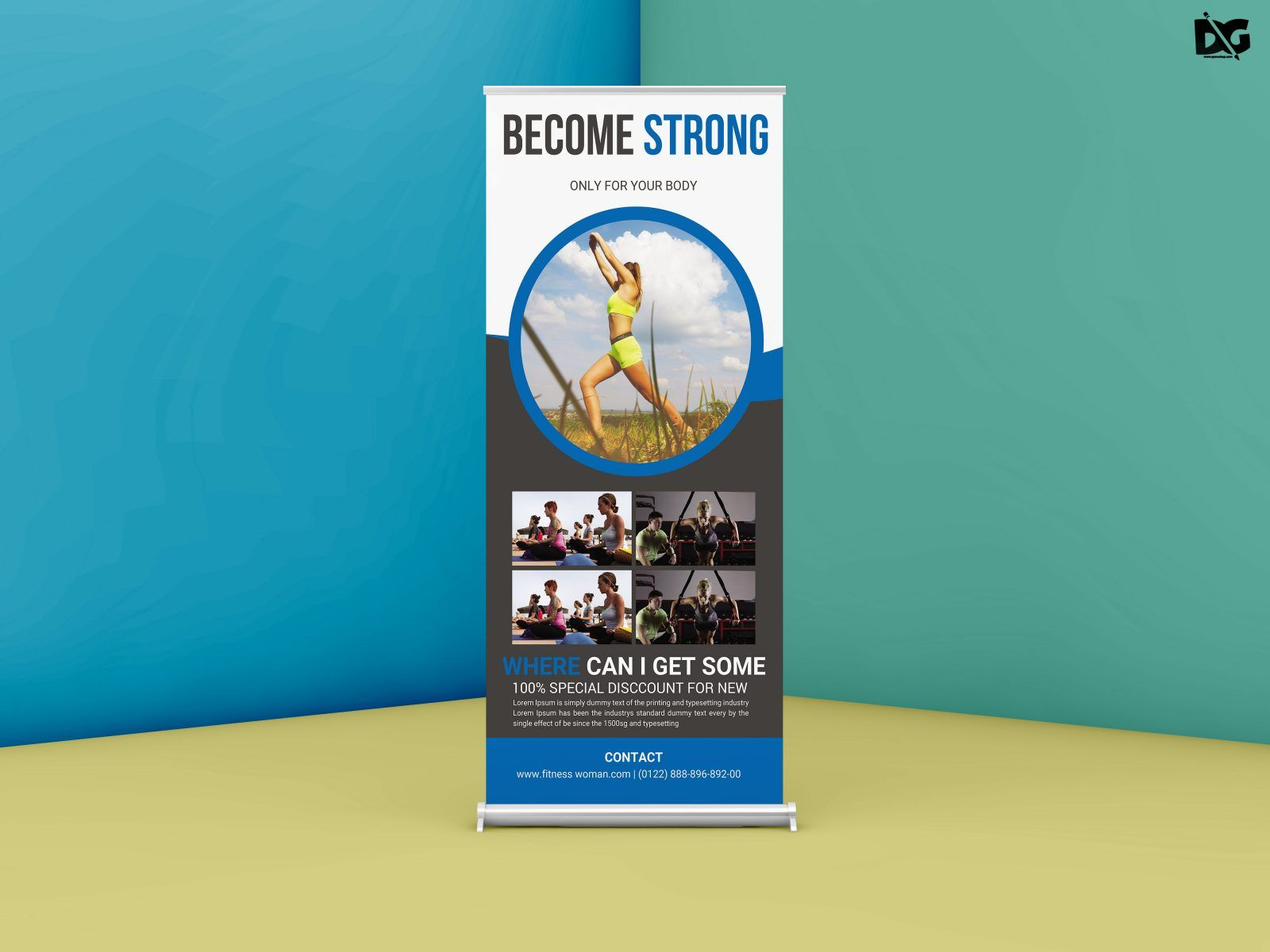 Gym Roll Up Banner Psd Mockup Availble For Free Gym Banner Psd Mockup Banner Template Banner Free Banner