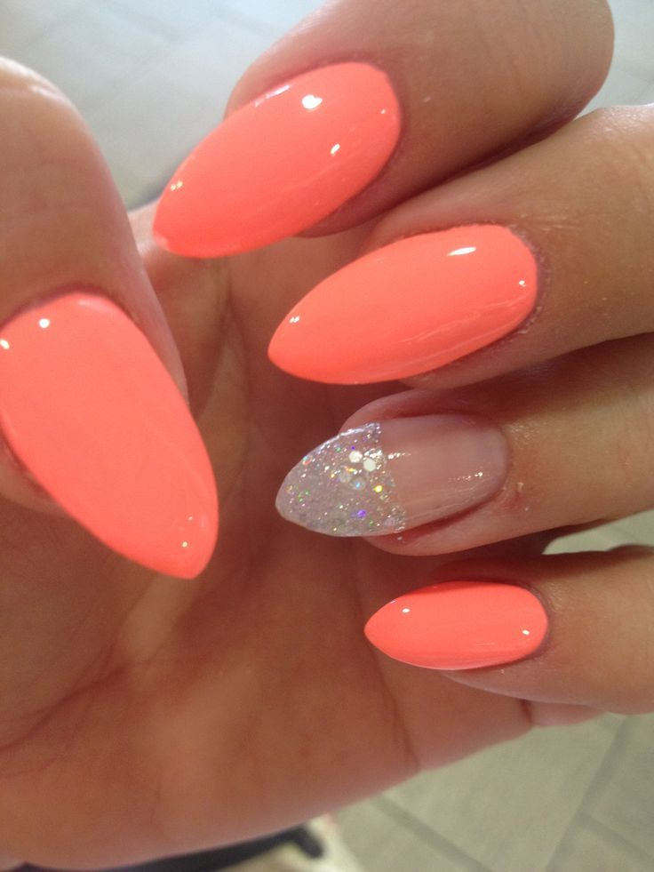 Gel nails coral color – New items manicure world blog   Nail Art ...