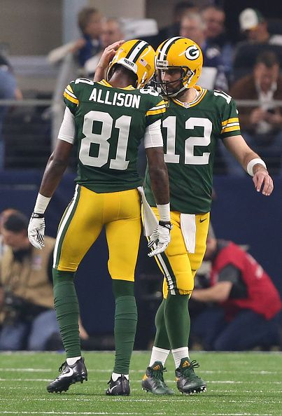 Green Bay Packers Wide Receiver Geronimo Allison And Quarterback Aaron Rodgers Celebrate In The Second Quarter Against Dallas Cowboys NFL