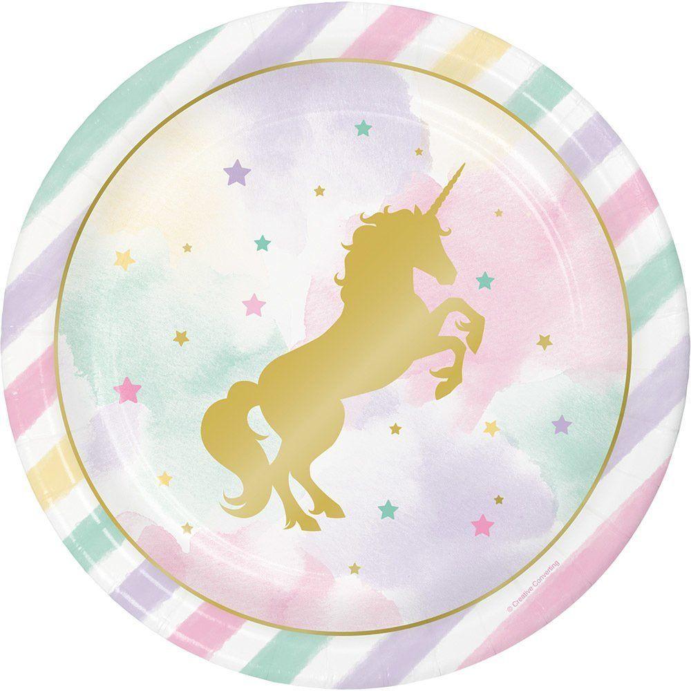 Goldenes Einhorn 8 Teller: Amazon.de: Spielzeug | Party Decoration ...