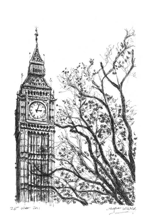 Realistic big ben drawing