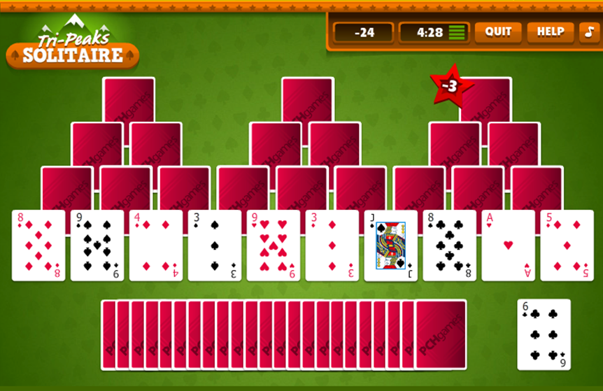 Tri Peaks Solitaire on PCH GamesGo there Now Pch
