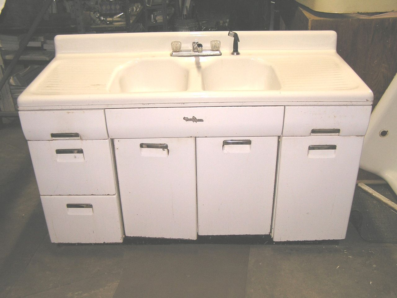 Vintage Metal Kitchen Sink Base Cabinet  Http Magnificent Kitchen Cabinet Sink Base Review
