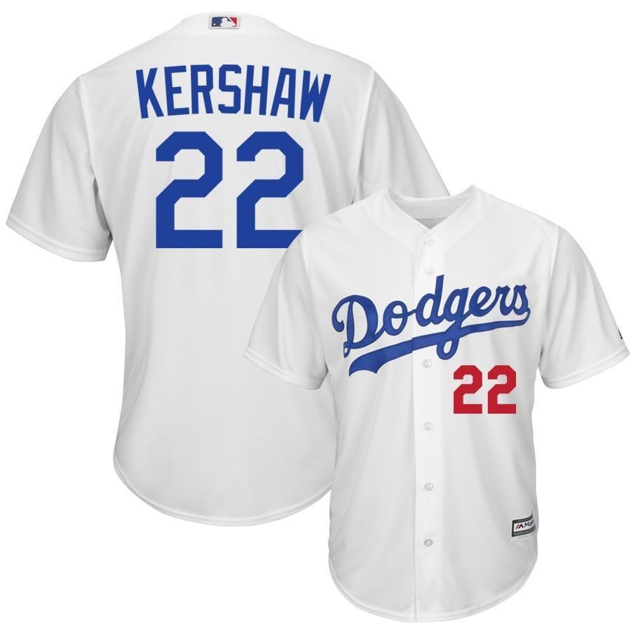 456bfd27a Clayton Kershaw MLB Dodgers  22 Stitched White MLB Jersey