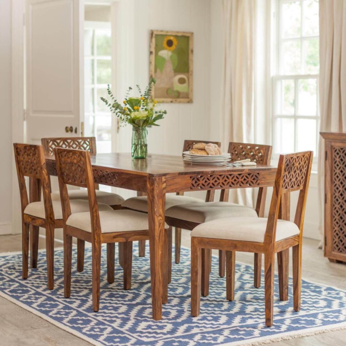 Jasmeen dining table dark wood dining table family dining rooms