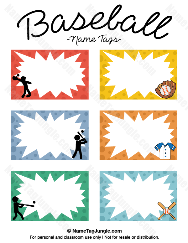 Free Printable Baseball Name Tags The Template Can Also Be Used For - Name tags templates
