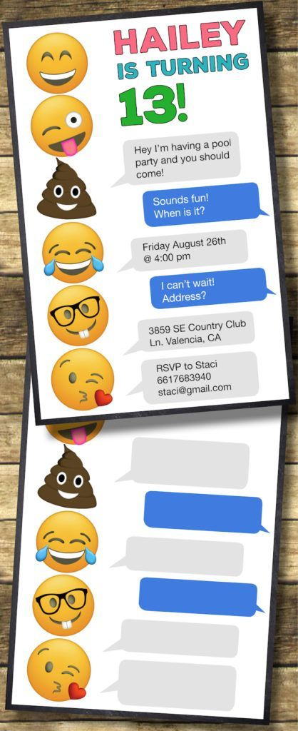 Emoji Birthday Invitations Free Printable Template Party Easy DIY Teenage Girl Invites