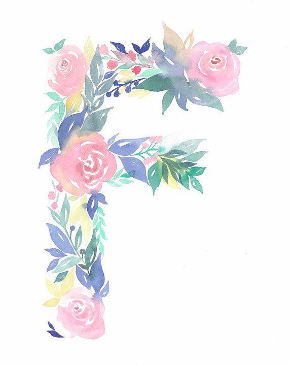 Floral Watercolor Monogram Letter Nursery Watercolor Etsy In 2020 Watercolor Monogram Floral Watercolor Nursery Paintings