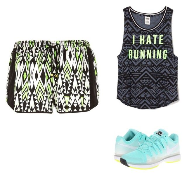 """""""Going for a run"""" by sammi-mo ❤ liked on Polyvore featuring NIKE, Victoria's Secret PINK and River Island"""
