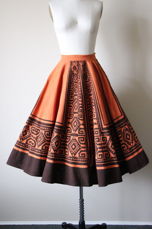 dba7ba5899 50s Skirt - Vintage 1950s Mexican Circle Skirt - Pumpkin Chocolate Hand  Painted…
