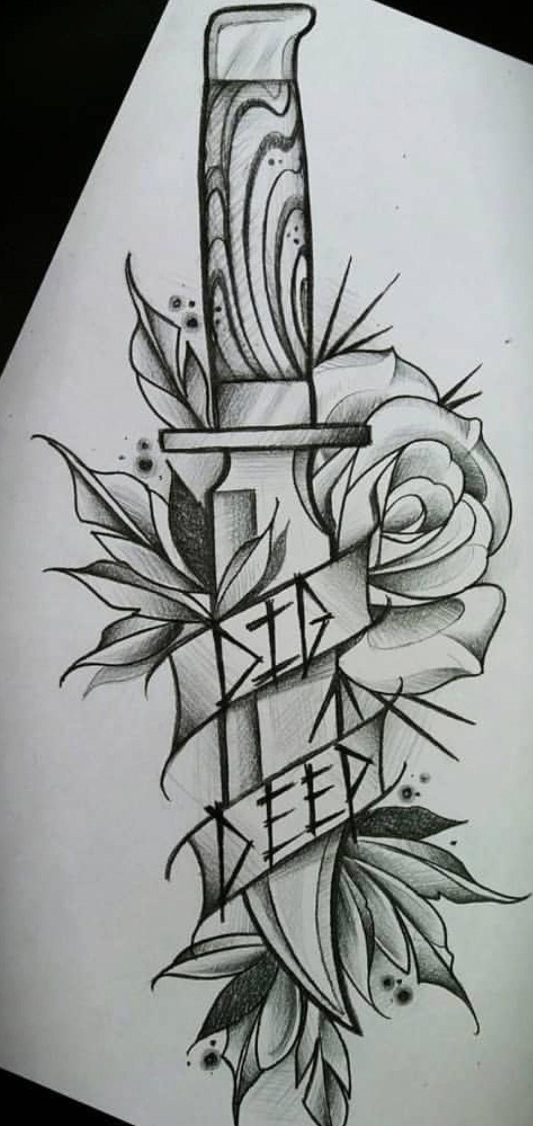Tatuaje Cuchillo Tatuaje Cuchillo Patrones De Tatuajes Dibujos De Diseno De Tatuajes Dibujos Con Pluma Y Tinta