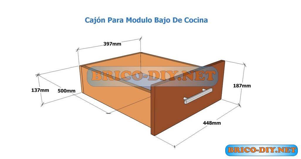 Plano de caj n de melamina para mueble bajo de cocina for Planos de melamina