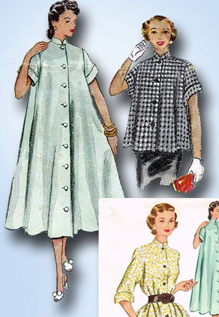 "McCall's Pattern 9385 Misses' Coat, Housecoat, Duster or Negligee Pattern Dated 1953 Factory Folded and Unused Nice Condition Overall Size 12 (30"" Bust)"