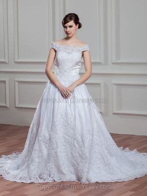 Princess Off-the-shoulder Lace Chapel Train Draped Wedding Dresses