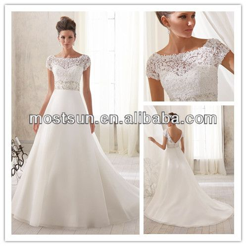 e3ef4c16c2 Short Sleeve Wedding Gowns Illusion Boat Neckline Lace Top