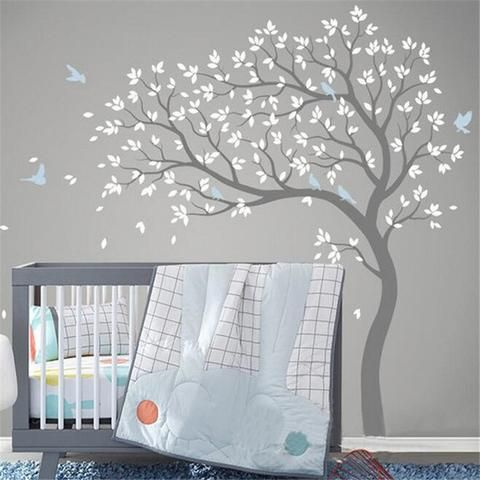 Delightful Free Shipping Large Size 191x178cm Vinyl Fall Tree Extended WhiteTree Wall  Decal Art Wall Stickers Decorative Sticker
