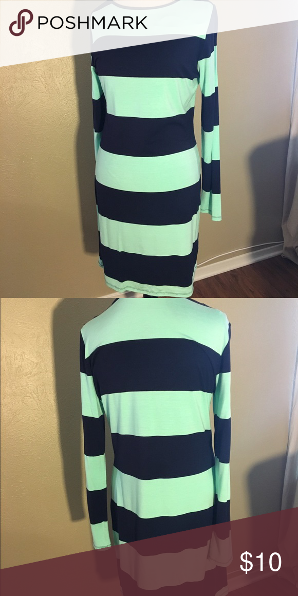 Navy And Teal Striped Dress Navy and teal dress. Worn twice. Charming Charlie Dresses Long Sleeve