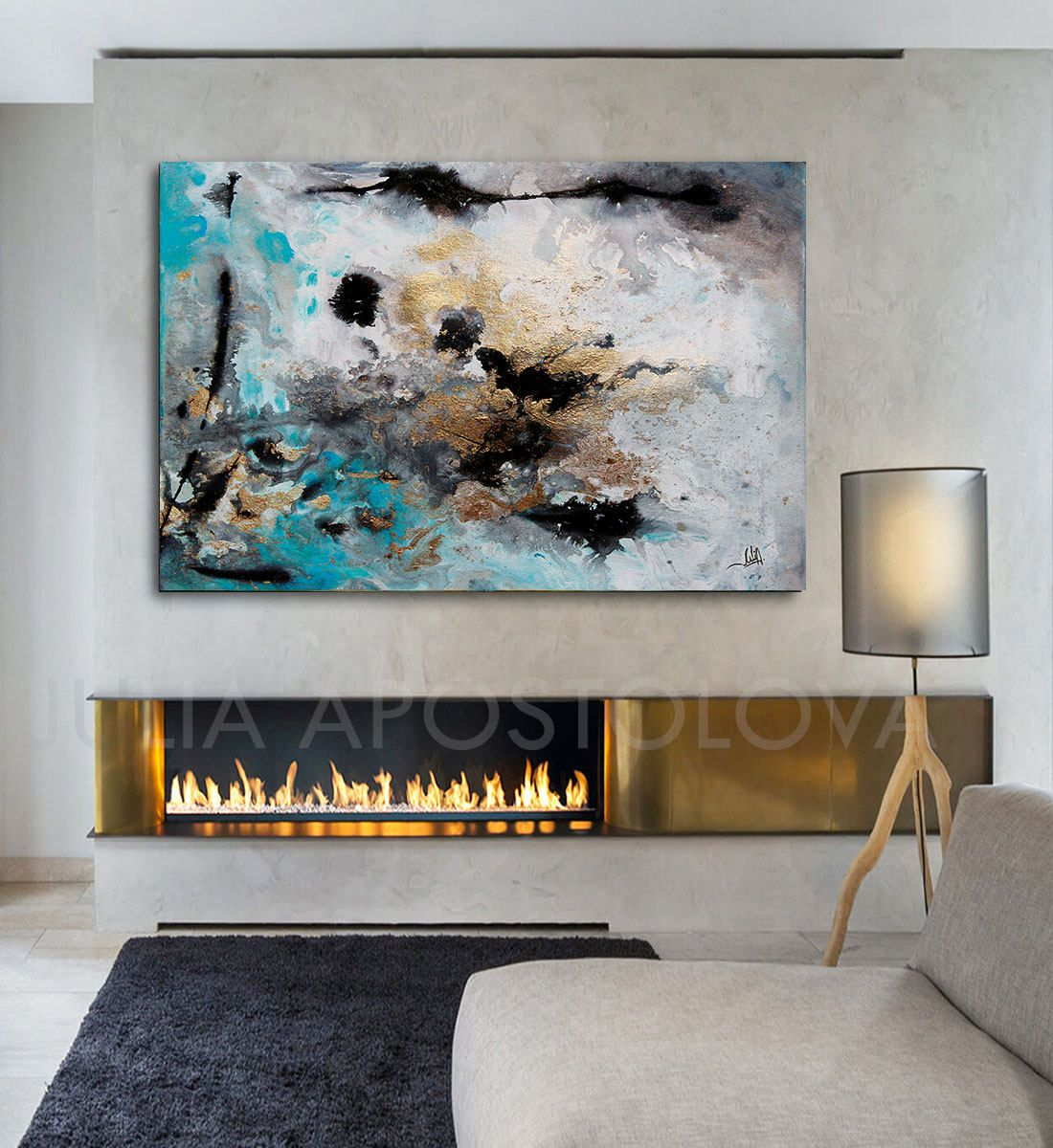 Attractive 48inch, Turquoise Gold Black, Abstract Print, Large Wall Art, Abstract Art  Canvas, Gray And Turquoise, Watercolor Painting, Julia Apostolova