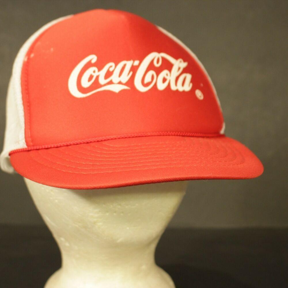 a26cbe09bde7f Coca Cola Mesh Trucker Hat Cap Red White Snapback Retro Foam Coke Beverage   HaT