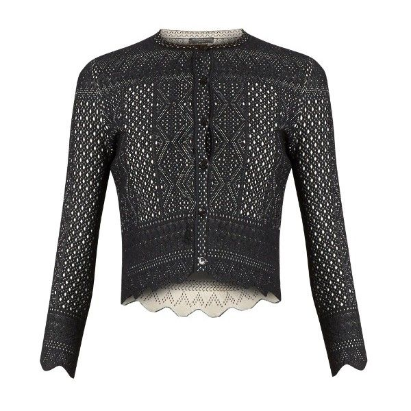 Alexander McQueen Lace-jacquard cropped cardigan ($1,080) ❤ liked ...