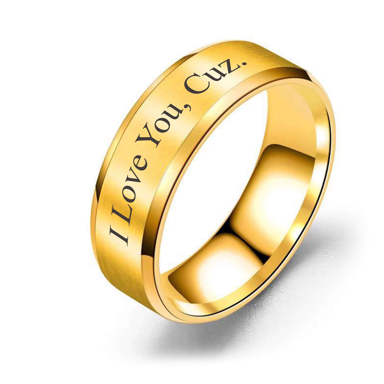 Brushed Polish 8mm Comfort Fit Ring I love You, Cuz