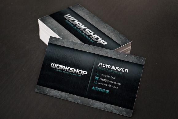Metal Business Card Template Creativework Business Cards - Double sided business card template photoshop