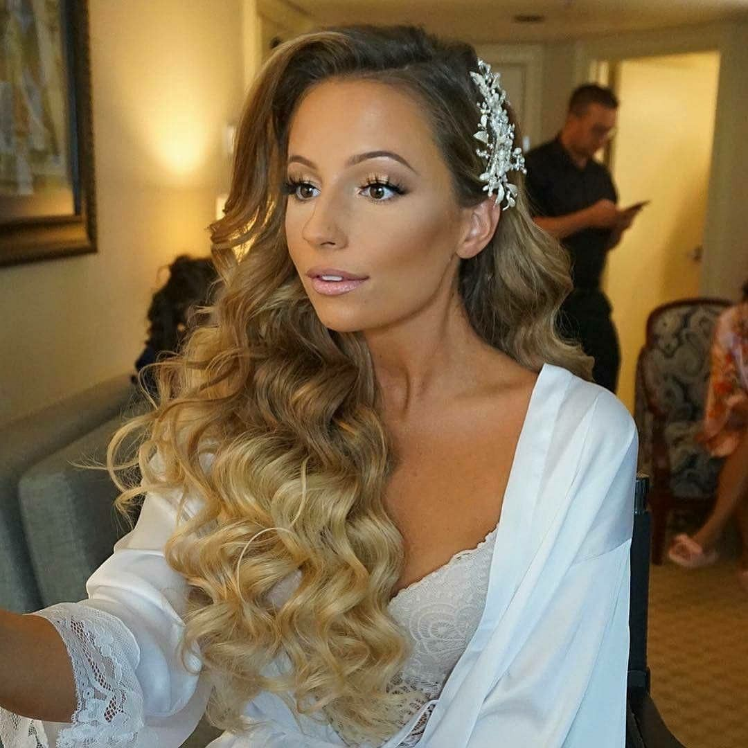 glam waves big hair with one side pinned back | wedding hair