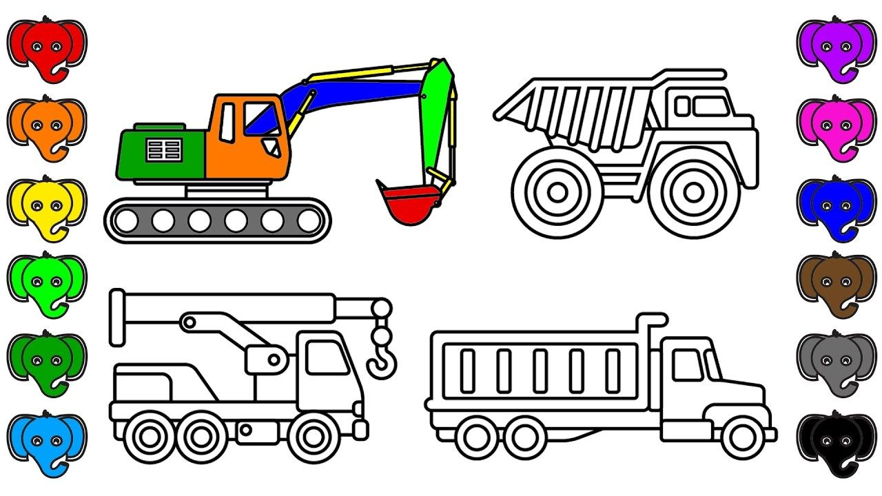 Learn Colors With Construction Truck And Car Coloring Book Pages Fun Co