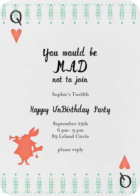 A Very Happy Unbirthday Coral Happy Unbirthday Tea Party Invitations Invitations