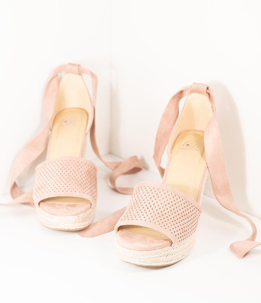 704f35bfc224 Mauve Suede Perforated Peep Toe Bow Tie Wedges in 2019