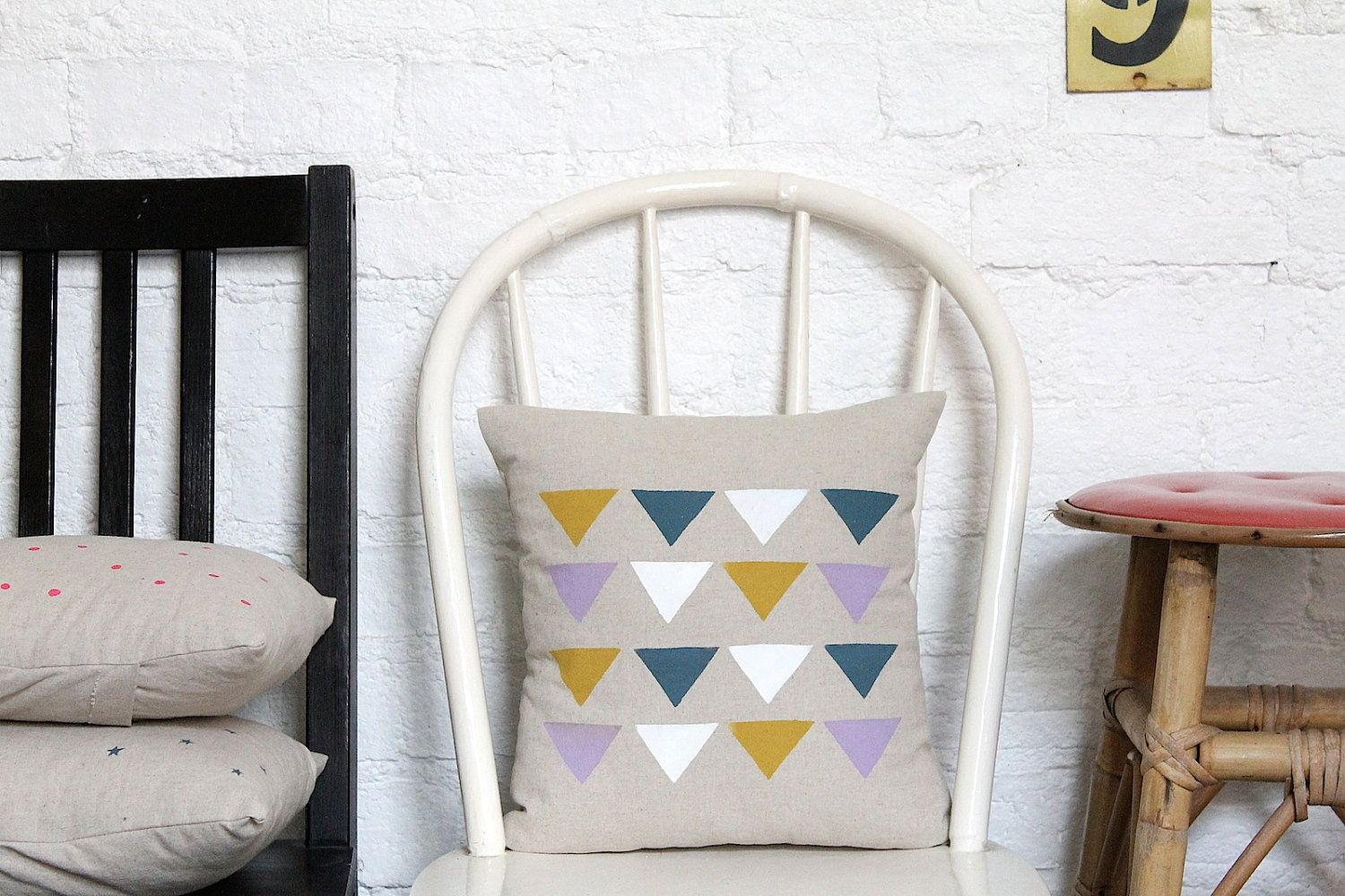 Hand printed cushion cover triangles concept store pinterest