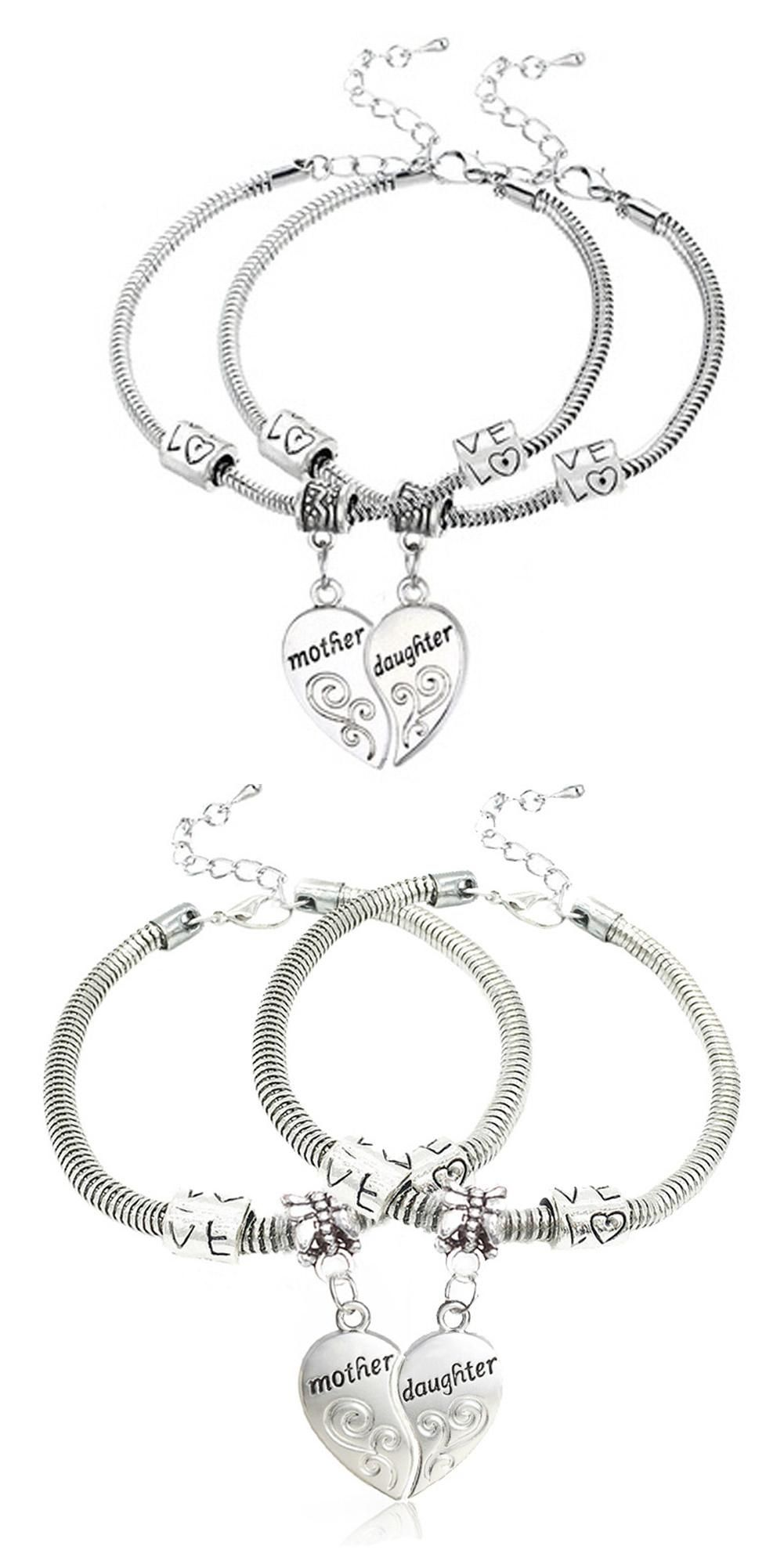 Visit to buy pcs silver plated mother daughter broken heart