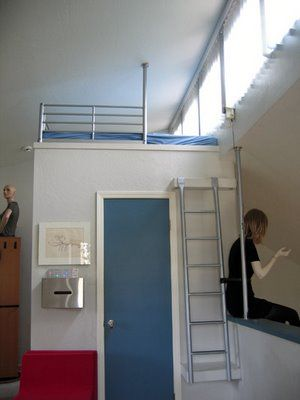 no tut but ikea hack loft bed ontop of walk-in closet with ikea