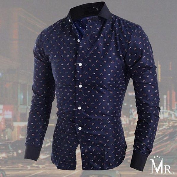 """New Arrival! Navy Waved Print Slim Shirt $45 Free Worldwide Shipping. US Sizes. Buy at www.mrmagnata.com  @mrmagnata @mrmagnata @mrmagnata"" by zaramen"
