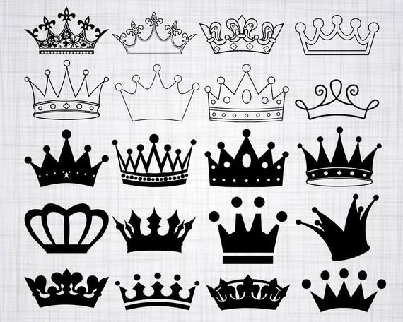You Will Receive The Following Files Svg Files Dxf Files Eps Files Png Files Please Note This Is A Digital F Crown Tattoo Design Crown Clip Art Crown Drawing
