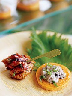 Jerk Chicken Bites...jalapenos, scallions, vinegar, lime, garlic, allspice, thyme, cinnamon, salt...boneless skinless chicken thighs..