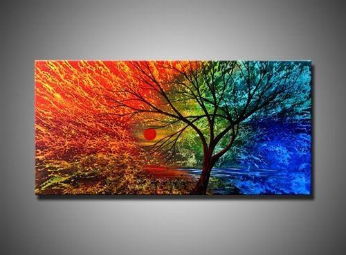 Cuadro moderno pintado a mano pintura al oleo sobre lienzo - Pintar en lienzo para principiantes ...