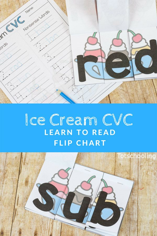 Ice Cream CVC Word Flip Chart | Recording sheets, Kindergarten and ...