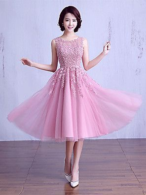 aaffaa1dc9a238 Ball Gown Jewel Neck Tea Length Satin / Lace Over Tulle Bridesmaid ...