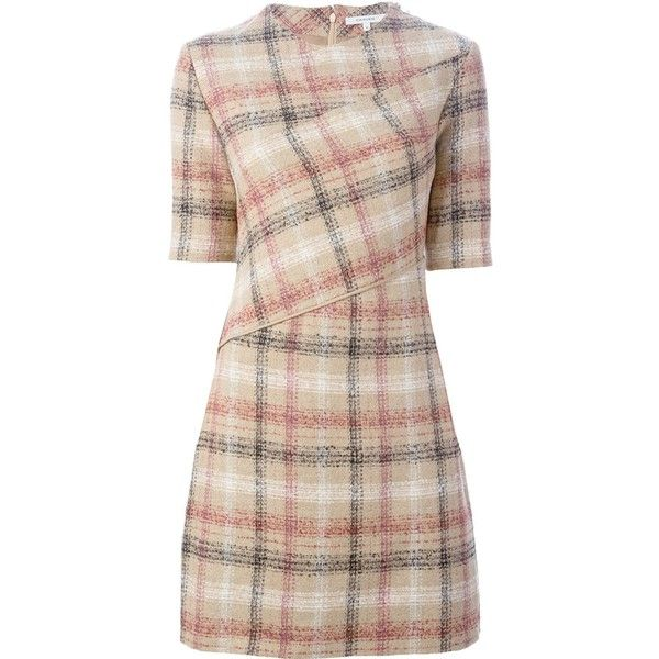 Carven Plaid Fitted Dress (3.765 NOK) ❤ liked on Polyvore featuring dresses, tartan dress, pink fitted dress, pink tartan dress, tight dresses and pink dress