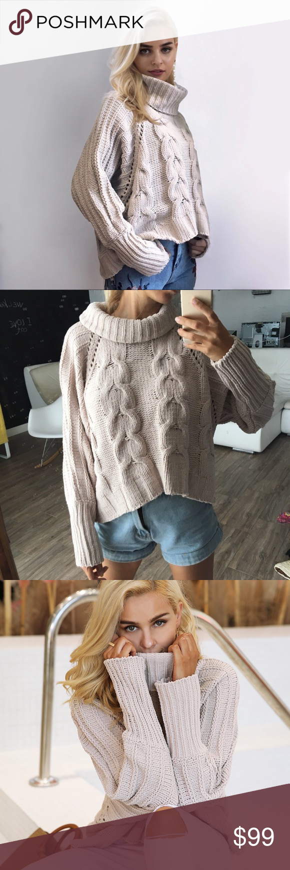 4c08f0fdcc6cd3 Loose Cable Knit Chunky Turtleneck Sweater Putty Thick, chunky knit, cozy  turtleneck style cable