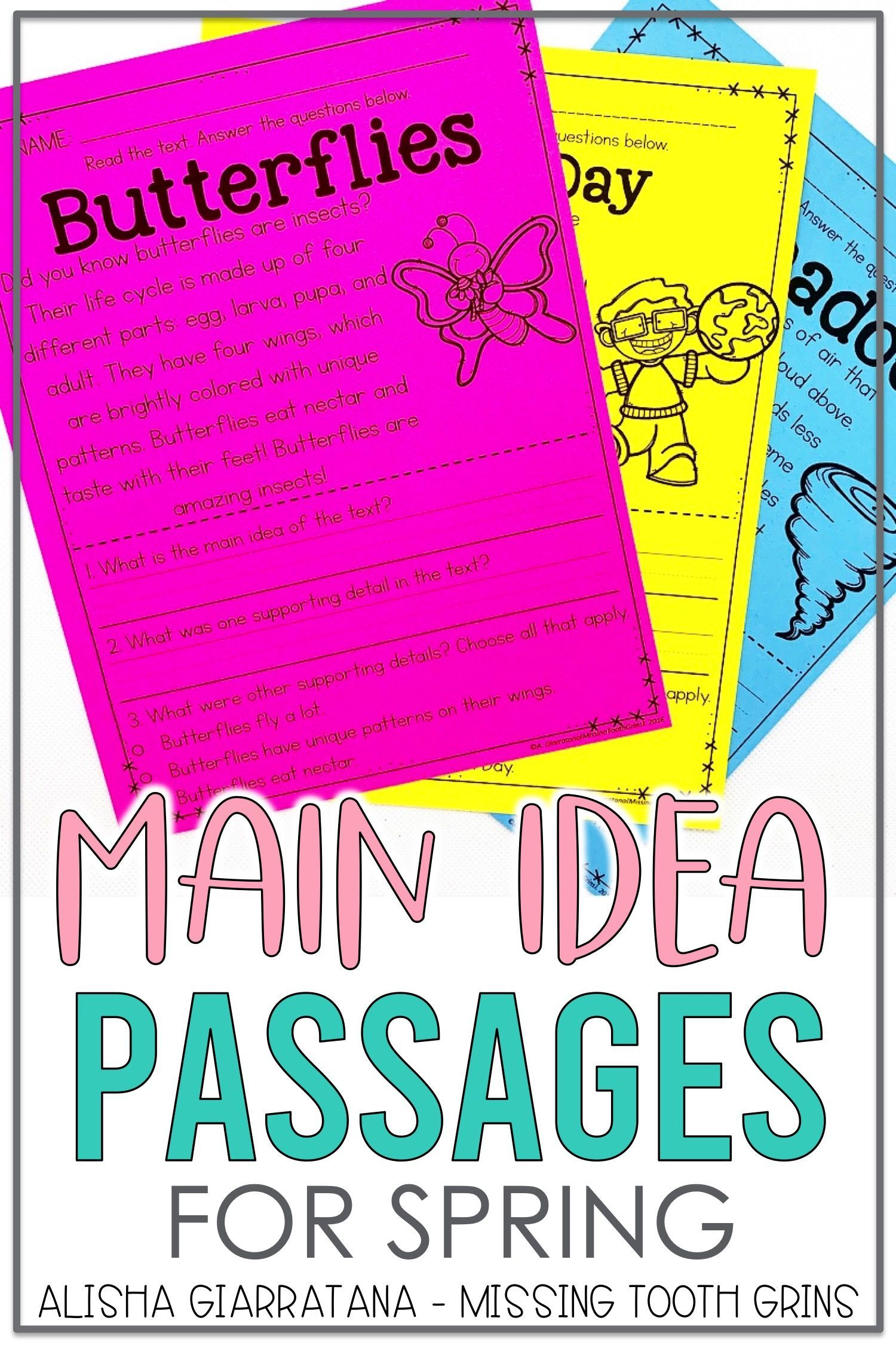 Main Idea Passages Spring Guided Reading Resources Teaching Main Idea Reading Center Activity